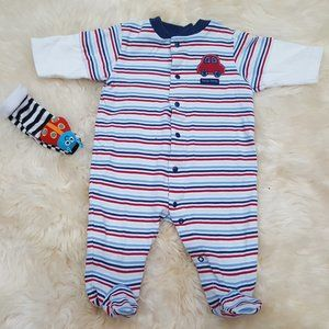 Carter's Cotton Striped Footed Onesie